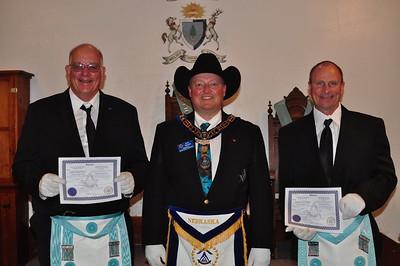 Bro. Bill McNutt, Grand Master Joe McBride & Bro. Matt Moody