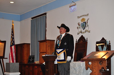 The Grand Master bringing greetings to the brethren