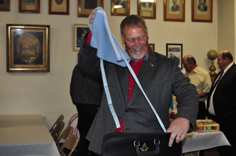 WBro. Barry had a surprise in his Apron Case...
