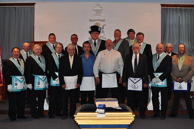 With the Degree Team. (L-R Front) WBro. Alvin Benemerito - Senior Deacon, WBro. Terry Foxworthy - Senior Steward, WBro. Phil Brown - Senior Warden, WBro. Darrel Steele (Silver Cord 224) - 2nd Ruffian, Bro. David Timmerman, Bro. Allan Edholm, WBro. Mike Hitchcock (Silver Cord 224) - 3rd Ruffian, WBro. Stan Weidner - Junior Deacon, WBro.  Chet Wales (Custer 148) - Seafaring and Wayfaring man. (L-R Back) Bro. Gerald Van Every - Junior Steward, Bro. Jeremiah Schartz - Junior Warden, WBro. Mike Burns (Wausa 251) - Questions, WBro. Scott Emmett - Worshipful Master, WBro. Barry Frerichs - Chaplain, WBro. Howard Fairbairn (Blazing Star 200) - Secretary, WBro. Doug Kristensen (Wausa 251) - Marshal.