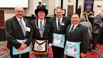 Long Pine Lodge Brethren: (L-R) WBro. Stan Weidner, MWBro. Joe D. McBride, Bro. Jeremiah Schartz & WBro. Alvin Benemerito