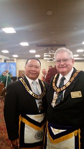 WBro. Alvin Benemerito with RWBro. Jack Cook, Deputy Grand Master of Iowa