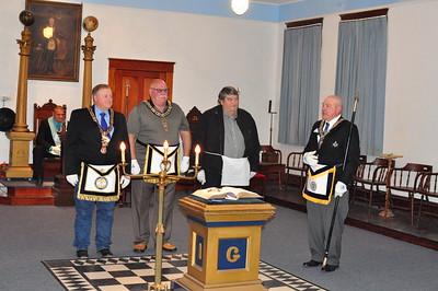 Visiting Brothers: MWBro. Joe McBride - PGM, MWBro. Bob Moninger - PGM and Bro. Howard Fairbairn, Secretary of Blazing Star No. 300.