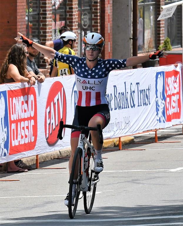 . Emma White, Women\'s Pro Division Winner crosses thje finish line at the Longsjo Classic on Sunday. Sentinel & Enterprise - Jim Fay