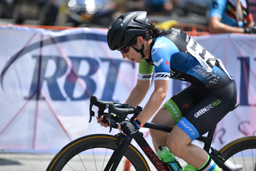 . Womans pro rider Meredith Moran completes a lap during the 2018 Longsjo Classic in Fitchburg on Sunday.  SENTINEL & ENTERPRiSE JEFF PORTER