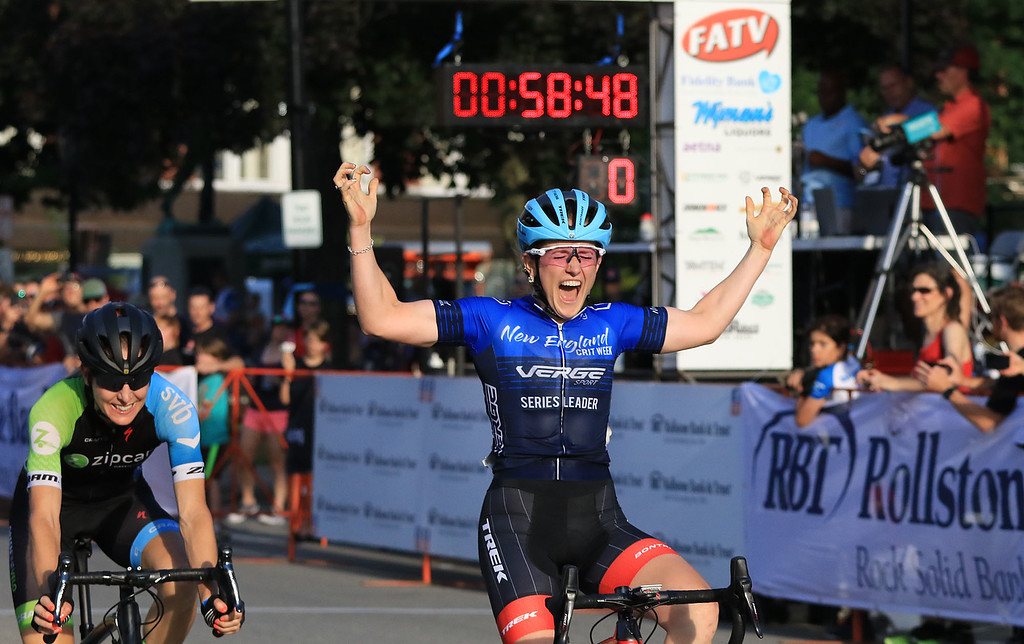. Ellen Noble wins the Women\'s Pro C 1/2 race during the first day of the Longsjo Classic in Leominster on Saturday. SENTINEL & ENTERPRISE/JOHN LOVE