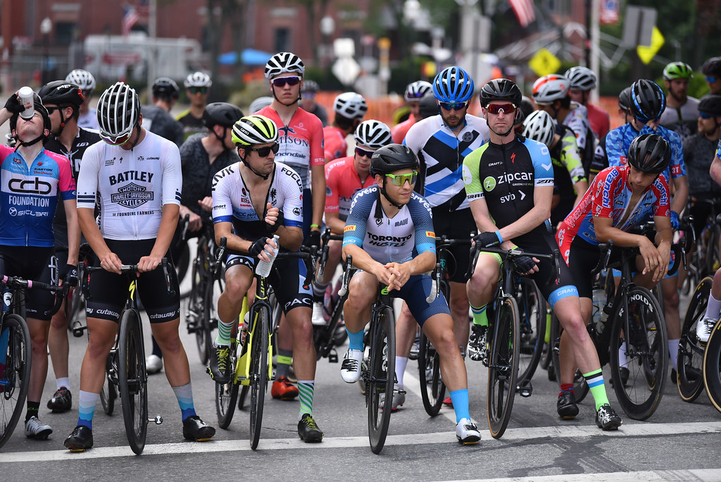 . Men\'s pro criterium wait for the 2018 Longsjo Classic to get under way in Fitchburg on Sunday.  SENTINEL & ENTERPRiSE JEFF PORTER