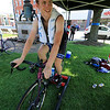 Rider in the mens cat 3/4 race Mark Hewitt from Boston warms up before the race. SENTINEL & ENTERPRISE/JOHN LOVE