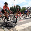 Riders in the Women's Cat 4/5 turn the corner from Court Street onto Merriam Avenue during Longsjo Classic in Leominster on Saturday. SENTINEL & ENTERPRISE/JOHN LOVE