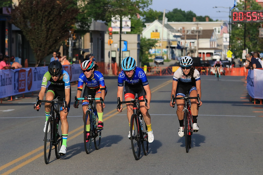 . With two laps left only four riders were in the front pack of the Women\'s Pro C 1/2 race on the first day of the Longsjo Classic in Leominster on Saturday. The winner Ellen Noble is second from right. SENTINEL & ENTEWRPRISE/JOHN LOVE