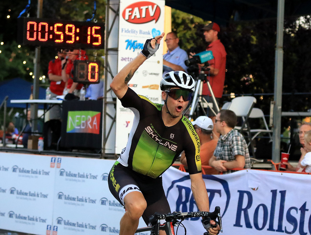 . Ryan DeWald wins the Men\'s Pro Cat 1/2 race during the first day of the Longsjo Classic in Leominster on Saturday. SENTINEL & ENTERPRISE/JOHN LOVE