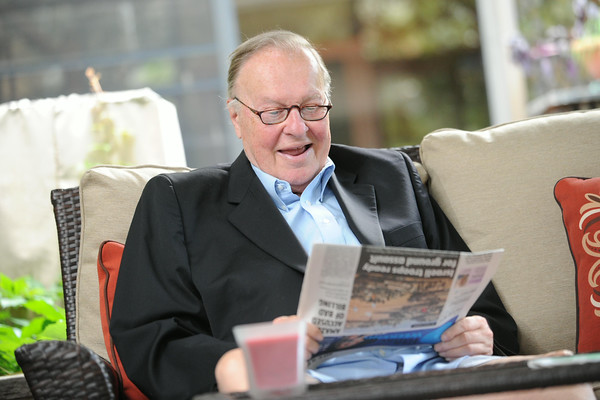 """Bob """"Gunner"""" Gleason, a longtime Cambria County defense attorney, hangs out on his back porch in Westmont. Gleason announced his retirement in July 2014."""