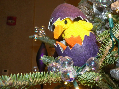 ugly duckling hatching ornament, Fairytale Christmas trees, near the Green Wall