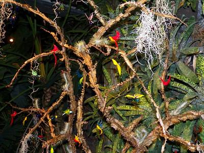 glass bird ornaments, Cascade Garden