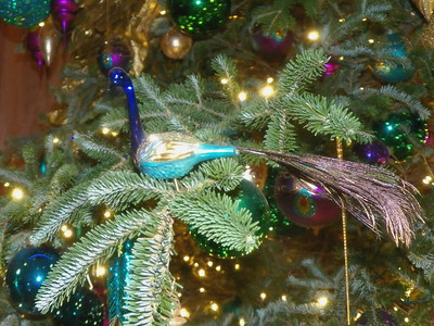 peacock ornament on the Music Room Christmas tree