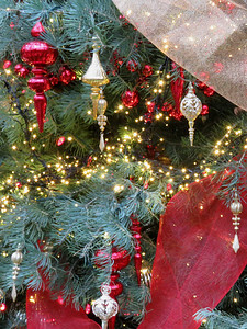 ornaments on the East Conservatory Christmas tree