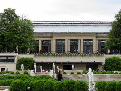 a view of the Conservatory from the fountain garden