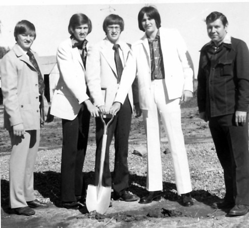From left are Ron Repking, Bill Zerrusen, Dan Zerrusen, Kurt Zerrusen and Don Bennett breaking ground for Three-Z Printing in 1977.