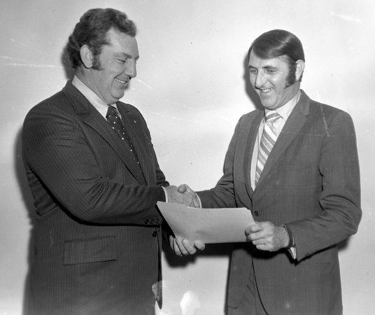 Phil Connors named Craftsman of year Jan. 11, 1976, shown with Austin Luckett
