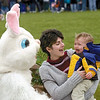 Clayton Florida, is not very happy about being so close to the Easter Bunny as his mom April Brush tries to cheer him up during the Effingham Co-Op Preschool's annual Easter Egg hunt at Evergreen Park in this 2003 photo.<br /> Eric Williams photo