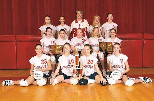 EJHS volleyball members in this 2003 photo, front row, from left, are Nikki Stevens, KyLee Blake, Casey Funneman and Kristin Kohnert. middle row: Amber Pellman, Morgan Koester, Courtney Allen, Tylar Greenwood and Kaylee Krischel. back row: Shelby Rennels, Vanessa Lustig, Coach Laurie Probst, Tabatha Arrasmith and Cathy Funneman.