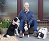Chris with our dogs, Rosie, Bonz and Blue