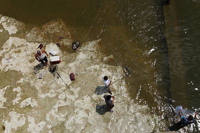 Looking Down at Fishermen from Longhorn Dam