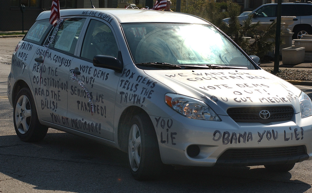 . A Tea Party attendee shows her conservative views written all over her car.  Photo taken on Saturday, April 10, 2010, in Birmingham, Mich.  (The Oakland Press/Jose Juarez)
