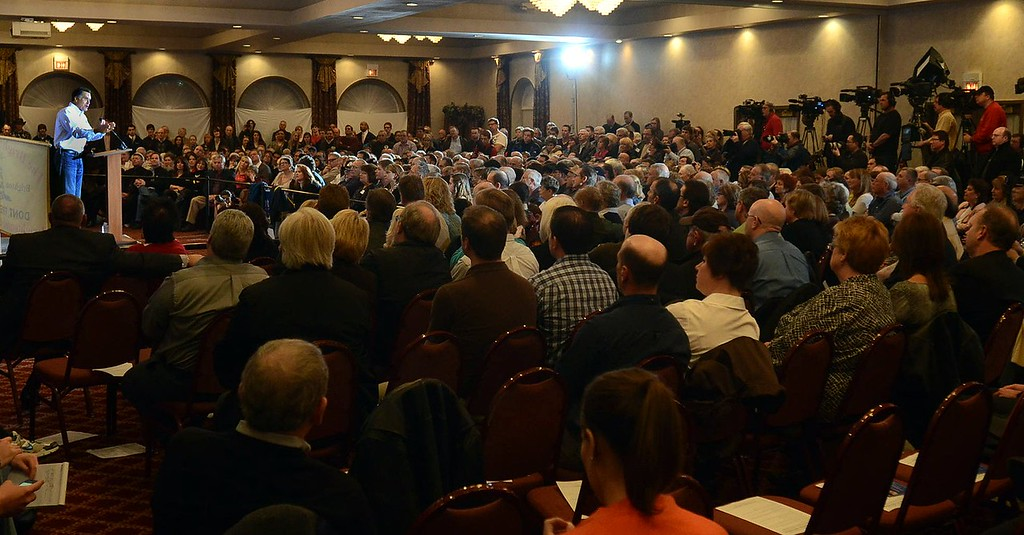 . Republican presidential candidate Mitt Romney speaks to Tea Party supporters during a campaign stop at Bakers of Milford, Thursday February 23, 2012. (Oakland Press Photo By: Vaughn Gurganian)