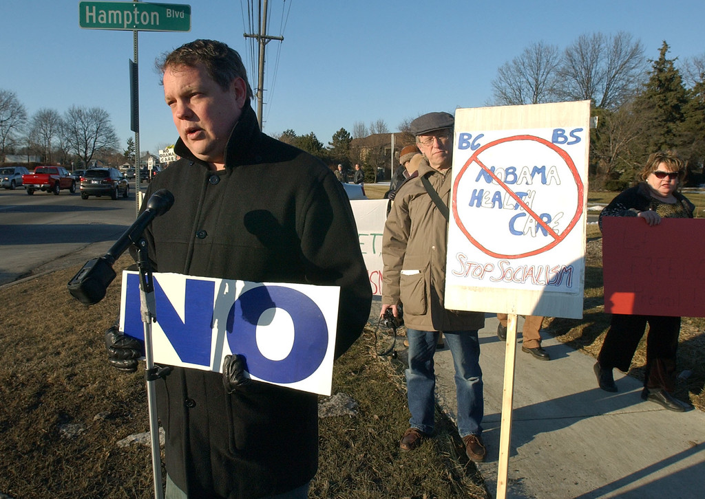 . Glenn Clark addresses the media, as he talks about the Tea Party Rally, which he organized.  The rally was held near a location where Congressman Gary Peters was scheduled to speak.  Photo taken on Friday, March 5, 2010, in Rochester Hills, Mich.  (The Oakland Press/Jose Juarez)