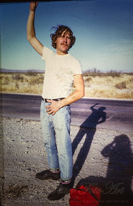 George Vetter in northern Mexico on trip to Oaxaca with Dennis Fiorre for Thomas. 1973