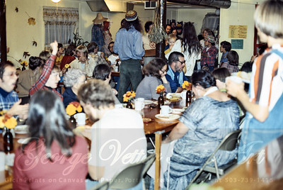Milk and Honey Dinner at Grange Hall. Fall 1976. Tualatin Oregon. Vivi Tallman, Ted Tallman, Annie