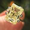 3.75ct Vintage Fancy Yellow Step Cut Diamond, GIA FY VS2 20