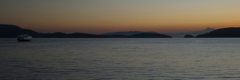 A ferry and Mt Baker in pre-dawn light