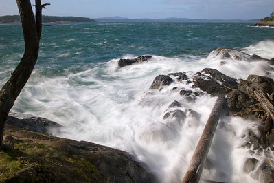 Surf breaks over rocks and driftwood in this view from Shark Reef up San Juan Channel.