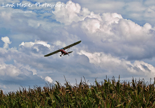 A Corn-er Of the Sky by Lora Mosier<br /> <br /> This was taken at Thacker Field during the Metro Warbirds hog roast.  It is indeed Bill Thacker his own self piloting his cub.