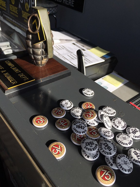 ". Richard Payerchin - The Morning Journal <br> This photo shows the buttons and humorous ""complaint department\"" at Muzik\'s Auto Care. John C. Muzik started the garage in 1942 and this year the businesses is marking its 75th anniversary. It is located at 704 W. Erie Ave., Lorain."