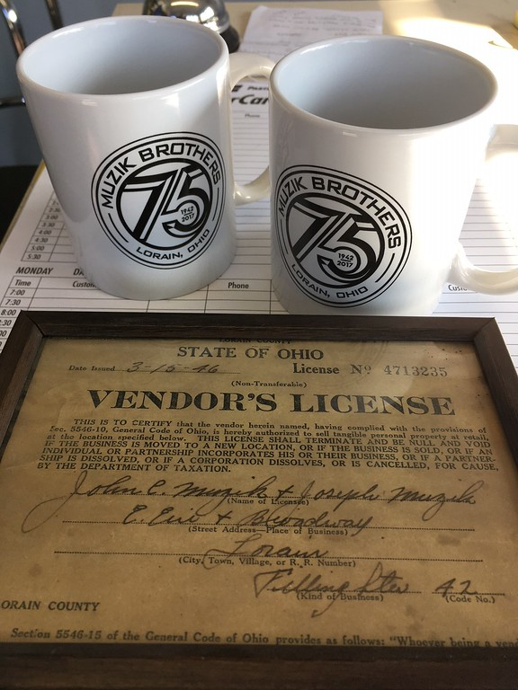 . Richard Payerchin - The Morning Journal <br> This photo shows the 1946 vendor\'s license issued to John C. Muzik and Joseph Muzik, who joined in 1945 to form Muzik Bros. John C. Muzik started the garage in 1942 and this year the businesses is marking its 75th anniversary. It is located at 704 W. Erie Ave., Lorain.