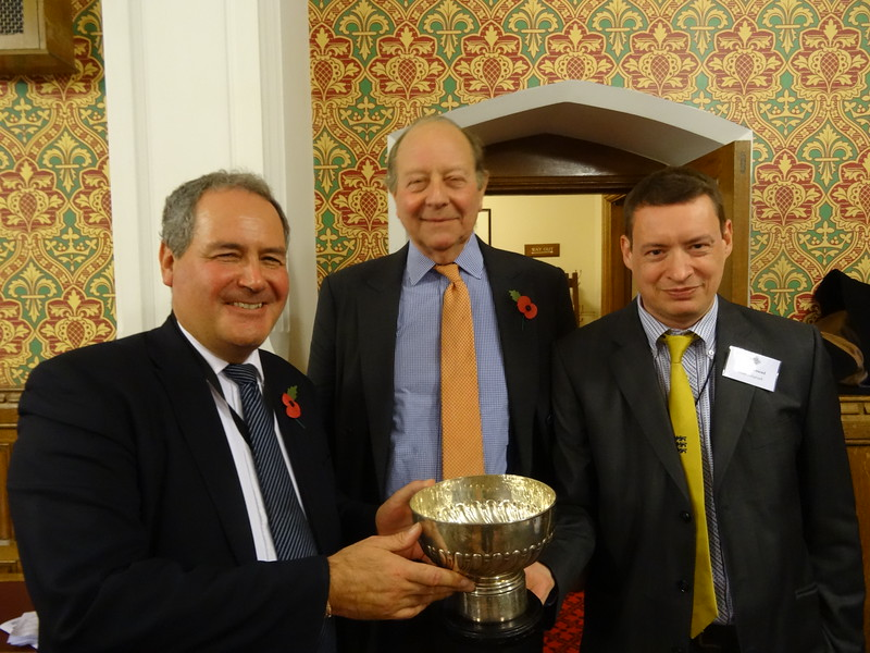 The Tony Berry Trophy for best played hand - Bob Blackman & Lord Hamilton (with judge Tom Townsend)