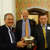 The 2016 Tony Berry Trophy for best played hand - Bob Blackman & Lord Hamilton (with judge Tom Townsend)