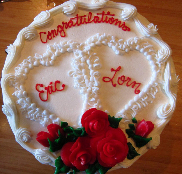 Dear friends Marcia Liberson and Herb Salomon presented us with this wonderful cake.  4 other couples at the courthouse 1 male couple; all the others were female.  Where are the heterosexuals?