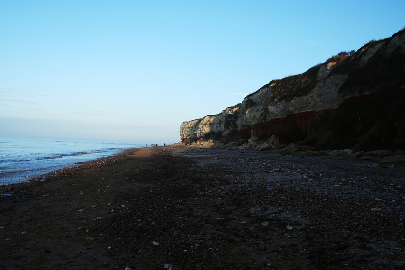 sun just catching the cliffs at old hunstanton