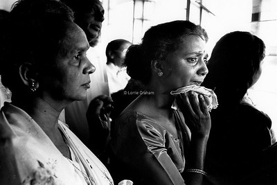 Relatives watch as loved ones leave Fiji during the coup, 1987