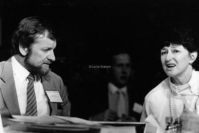 POLITICS : Gareth Evans and Susan Ryan at ALP Conference, Hobart, 1986.
