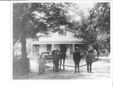 In this 1912 photo, the Loucks family prepares to leave their house, near the corner of what is now San Antonio Road and El Camino. To the left of the horse and buggy are Marie and Samuel Loucks; Charles and Ray stand to the right.