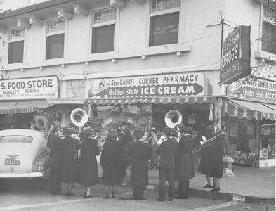 Los Altos was honored by a Salvation Army Band delegation from the San Francisco Training College under the direction of Major Parkhouse in December 1948. Thirty strong, the band played up and down Main Street.