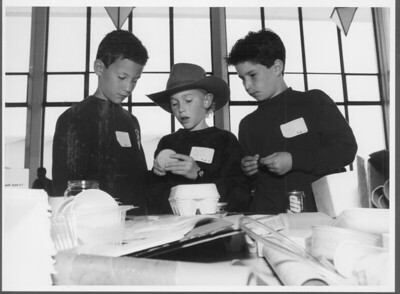 3 boys from Almond School in Los Altos work on their cat feeder invention, April, 1992.