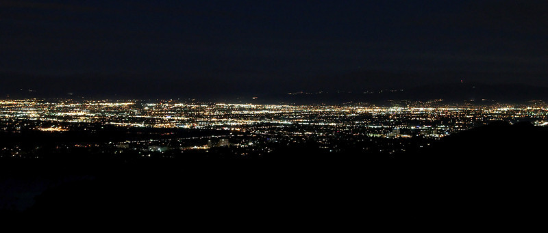 Mulholland Dr at night. Hiked up Sullivan Canyon, up to Mulholland Dr, and then back via Mandeville Canyon Rd. I brought my flashlight this time, which was helpful.