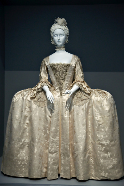 Exhibit on the history of European fashion. The wide look was very popular, unlike nowadays.