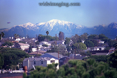 Los Angeles, on an extremely rare clear day, looks like a city in Colorado. View from the beach city of El Segundo: January 12, 2008.